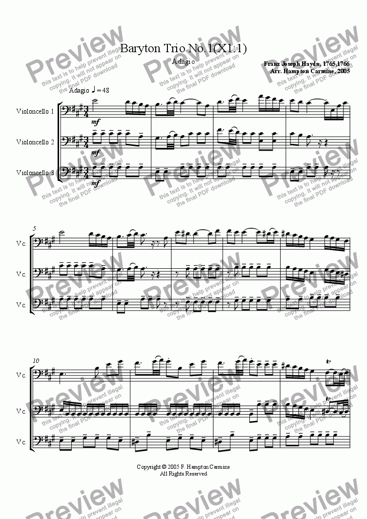 page one of Baryton Trio no. 1: Adagio
