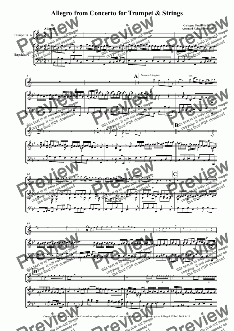 page one of Allegro from Torelli's Concerto in D arr. for Bb Trumpet  & Harpsichord (Low version)