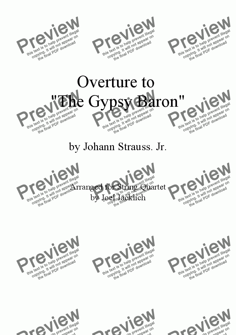 "page one of Overture to ""The Gypsy Baron"""
