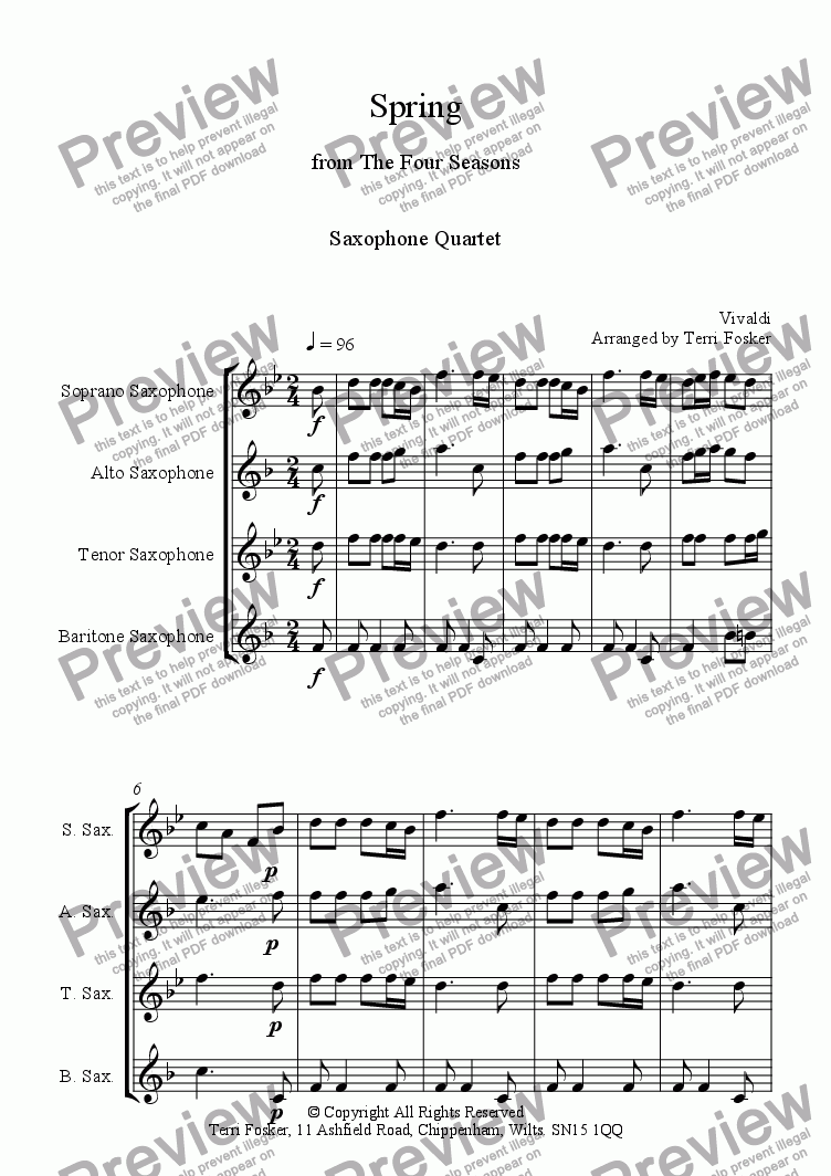 page one of Spring from The Four Seasons for Saxophone Quartet SATB