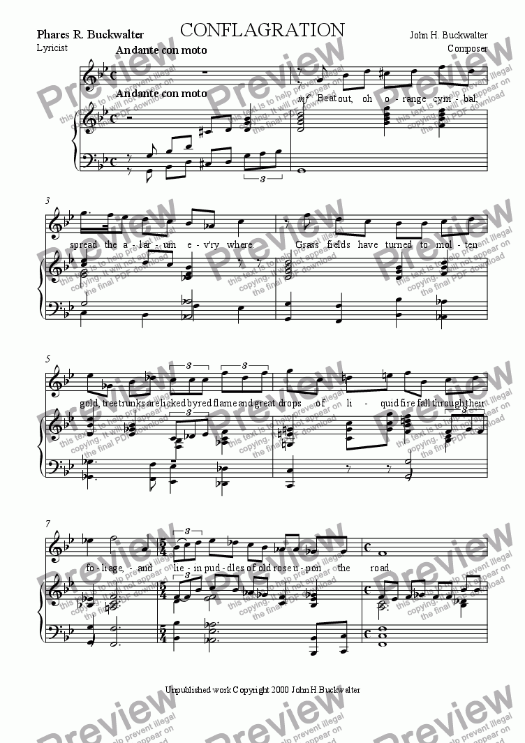 page one of Conflagration(Vocal Solo)