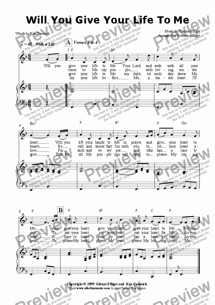 page one of Will You Give Your Life To Me  - Piano/Vocal