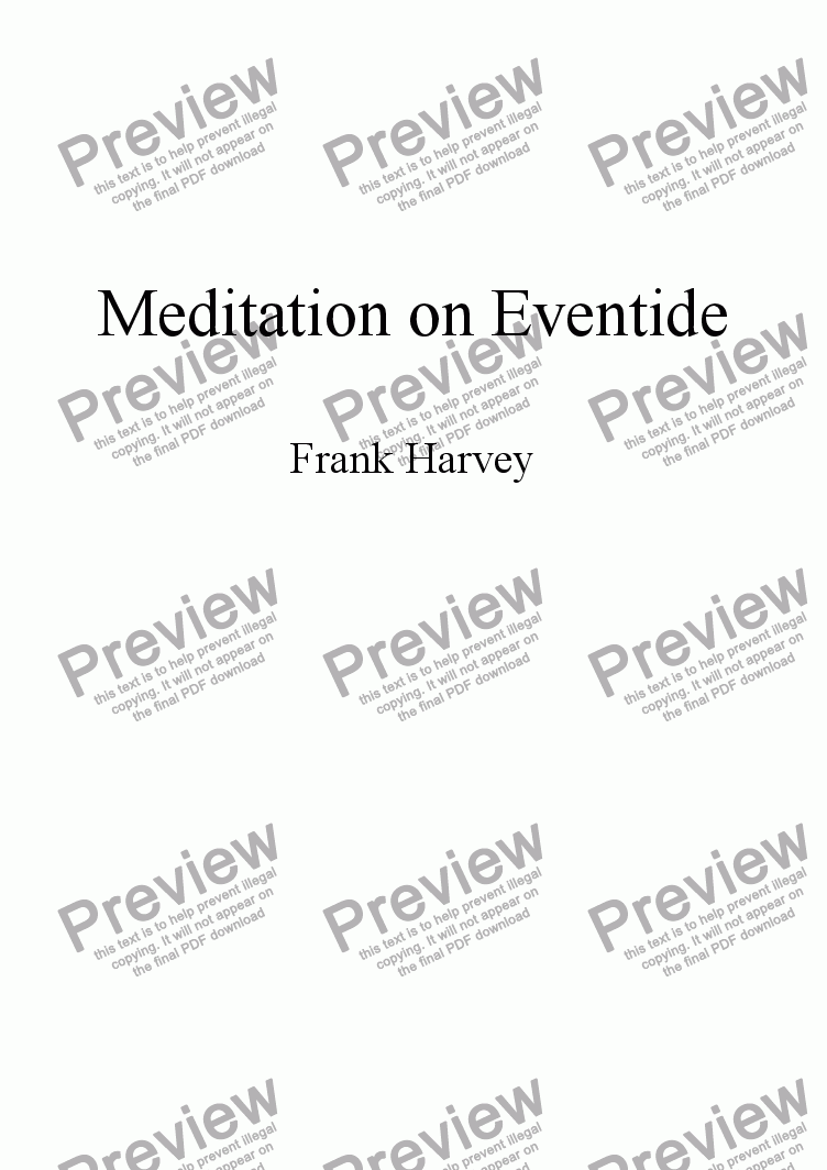 page one of Meditation on EventideASALTTEXT
