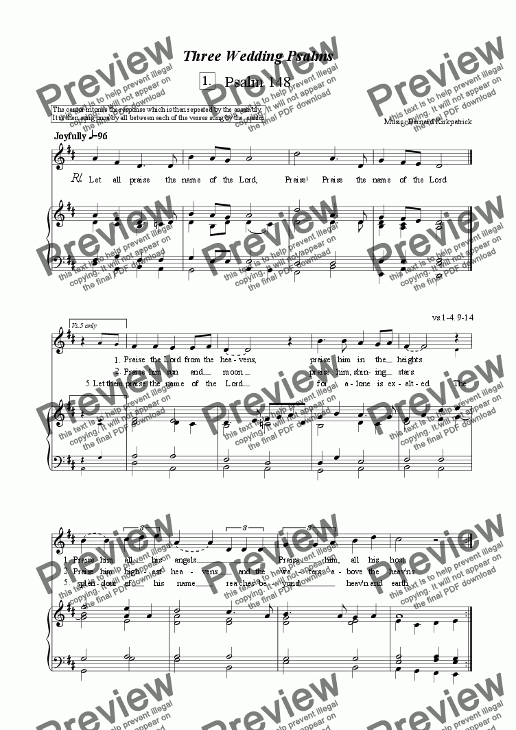 page one of 3 Wedding Psalms-Download Sheet Music