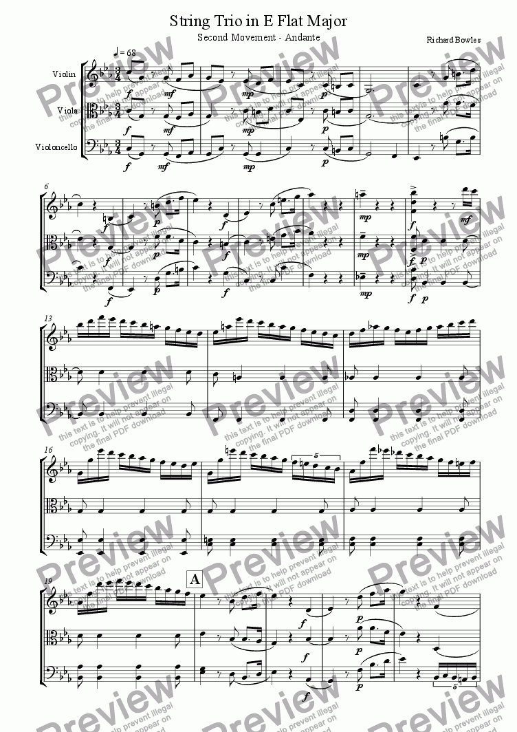 page one of String Trio in E flat major - Second Movement