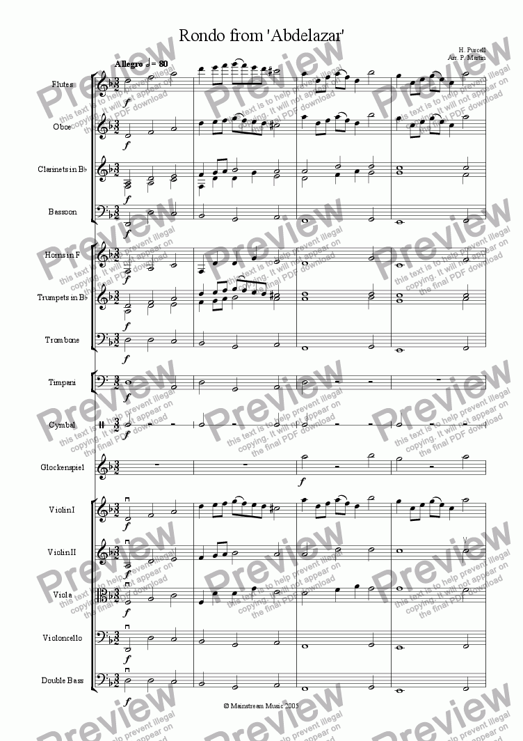page one of Rondo from 'Abdelazar' - Orchestra