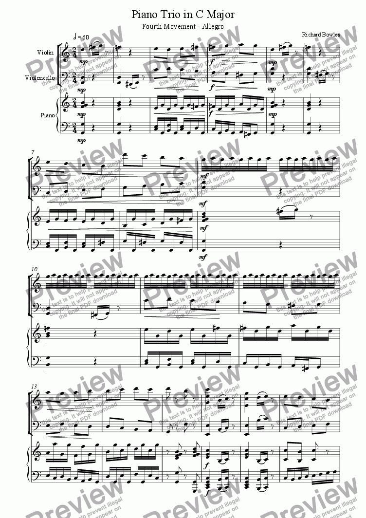 page one of C Major Piano Trio - Fourth Movement