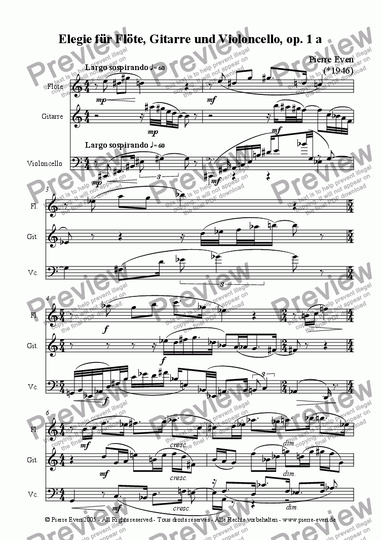 page one of Elegie - for Flute, Guitar and Cello, op. 1 aASALTTEXT