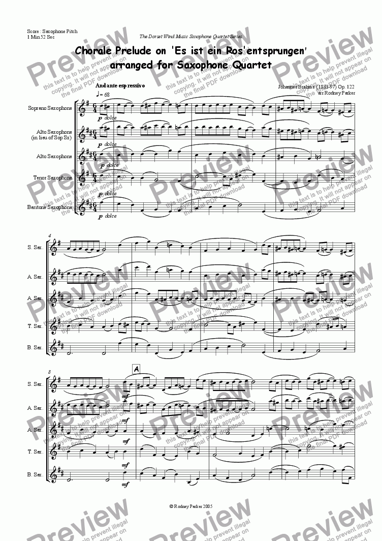 page one of Chorale Prelude on 'Es ist ein Ros' entsprungen' arr for Saxophone QuartetASALTTEXT