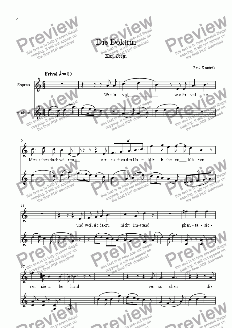 page one of 6 Songs for High Voice and Violin Solo 1. Die Doktrin