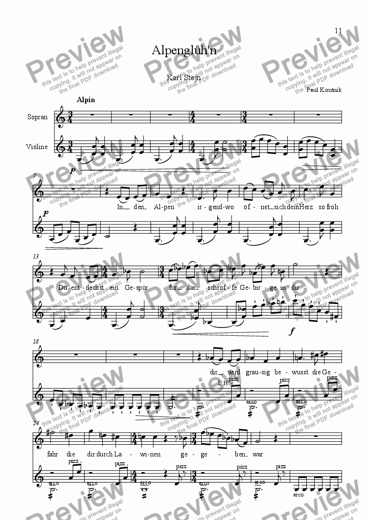 page one of 6 Songs for High Voice and Violin Solo 4. Alpengluehn