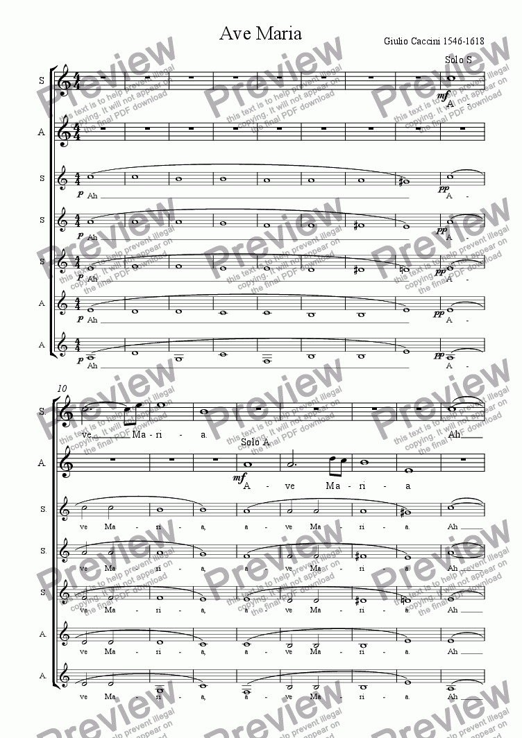 page one of Ave Maria by Caccini; Choir SSSAAA acapella