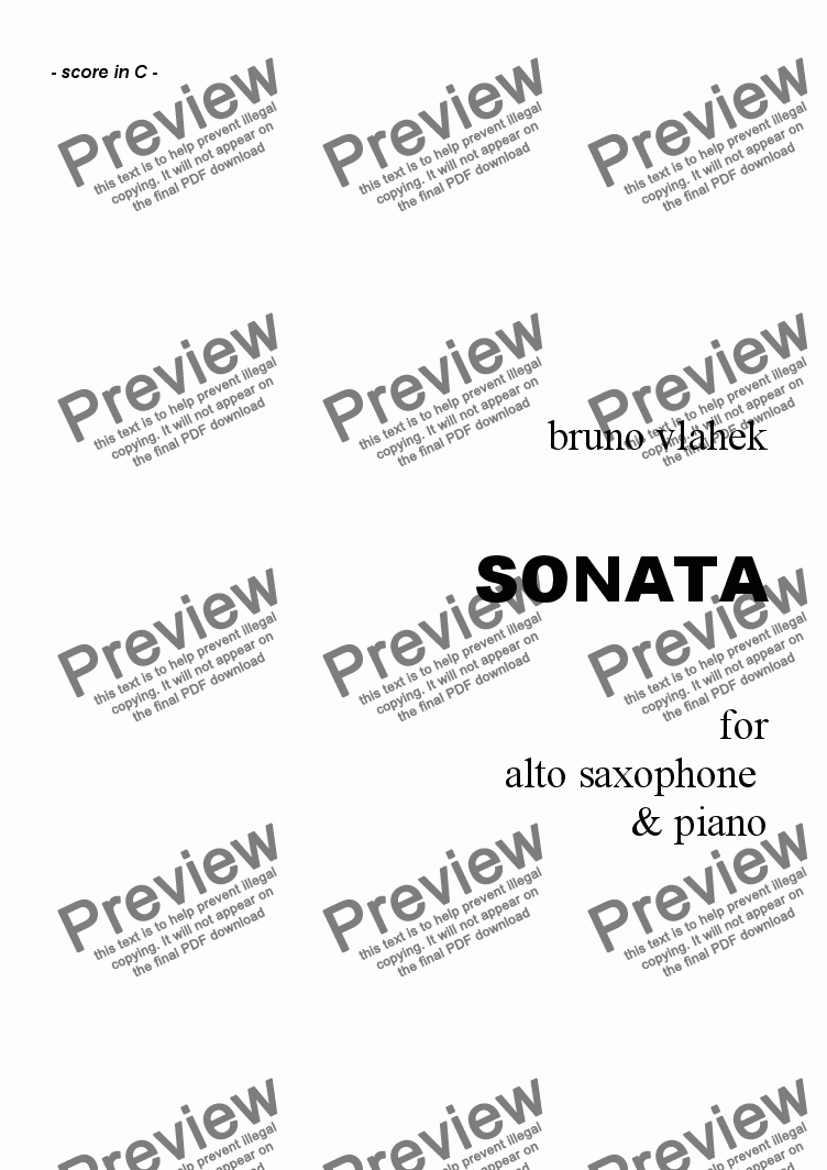 page one of Sonata for Alto Saxophone & Piano /complete score/