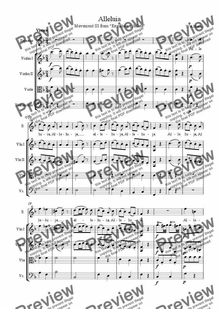"page one of ""Alleluja"" -Mozart ""Exsultate jubilate"" -Download Sheet Music -Soprano/String Quartet"