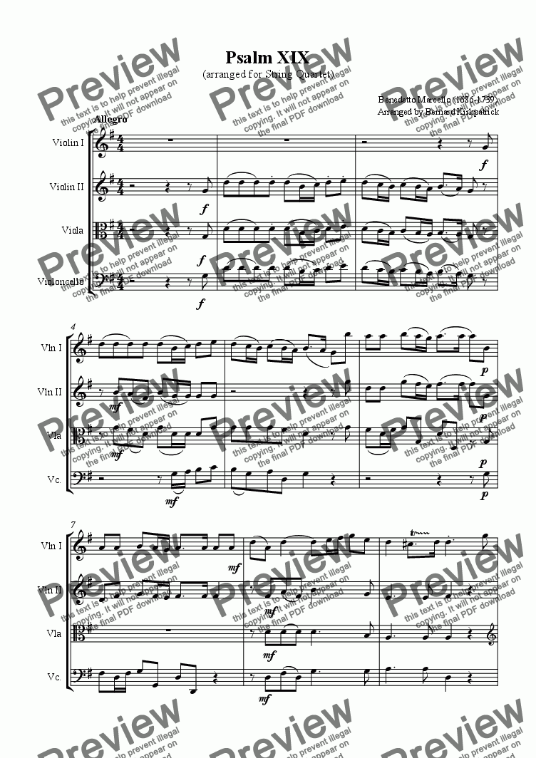 page one of Psalm 19 - Marcello; Download Sheet Music Wedding String Quartet