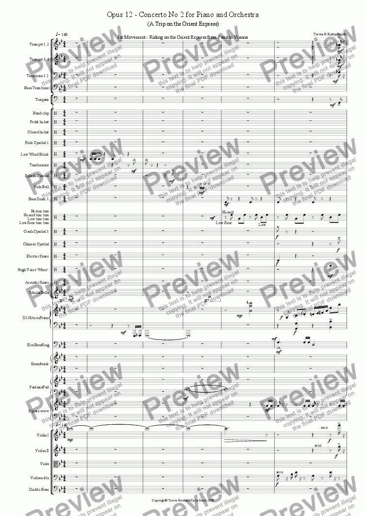 page one of Opus 12 Concertino No 2 for Piano and Orchestra