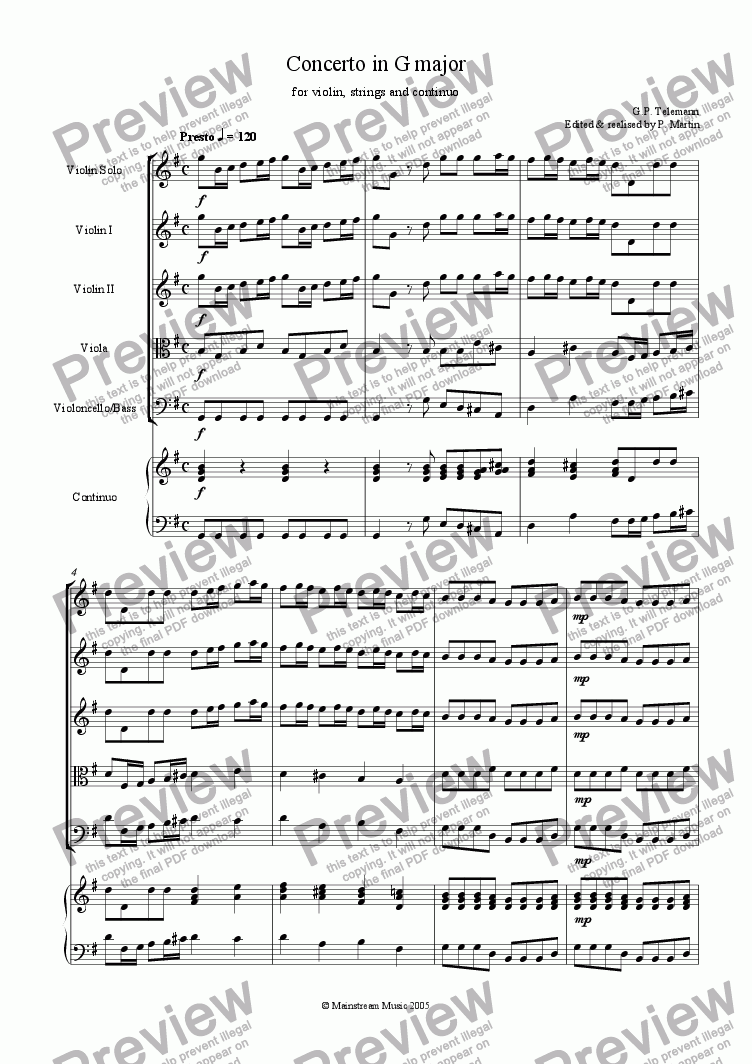 page one of Concerto in G Major  for violin, strings & continuo