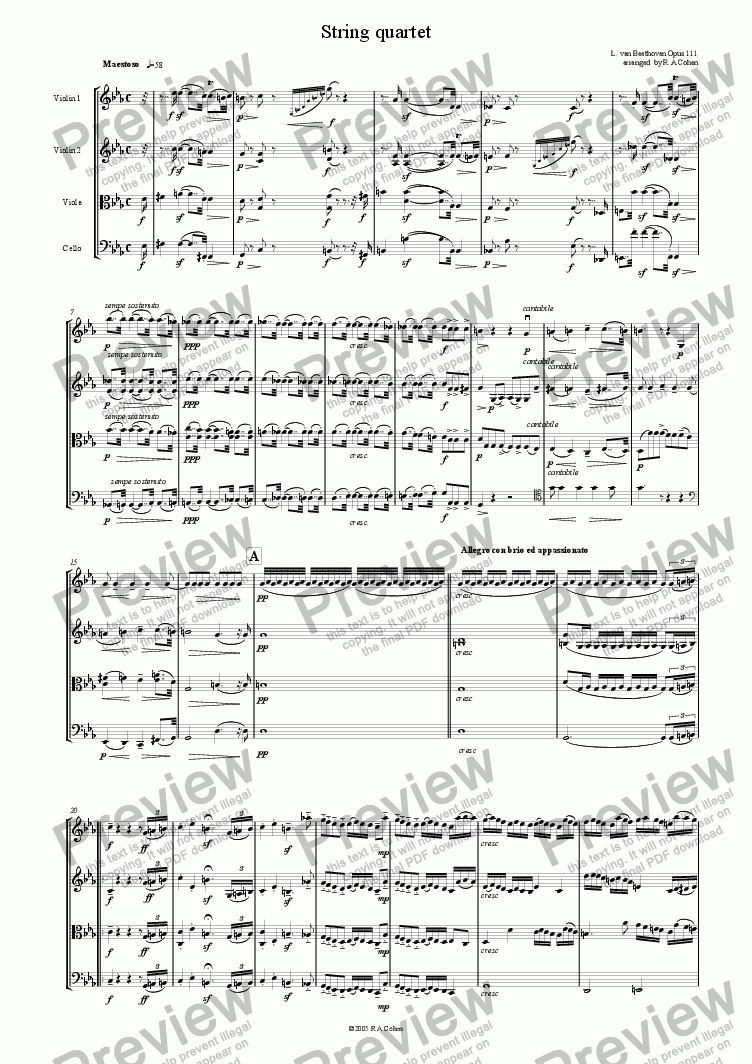 page one of Beethoven - STRING QUARTET OPUS 111