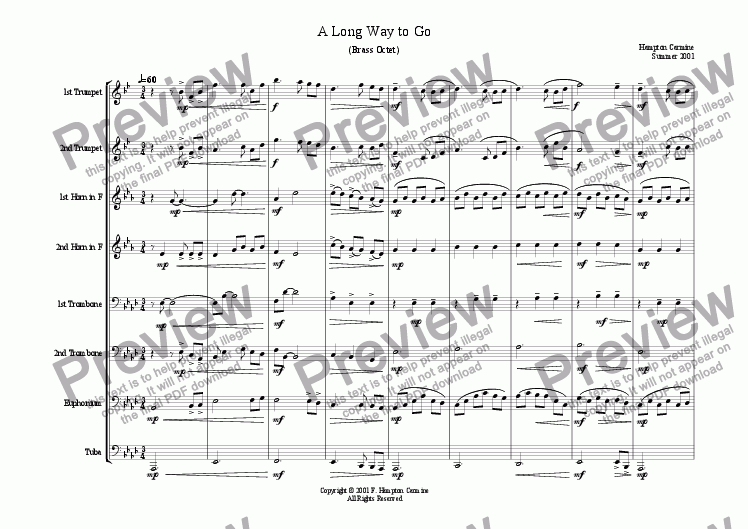 page one of A Long Way To Go - Octet
