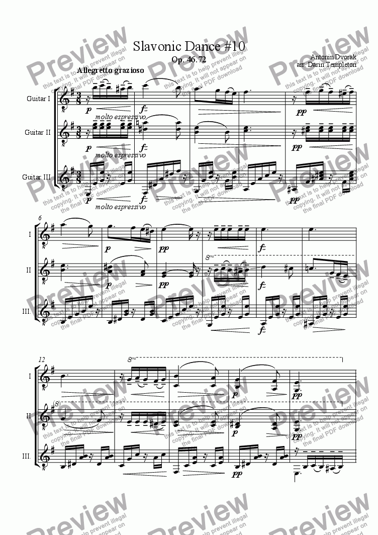 page one of Dvorak- Slavonic Dance no. 10(2) (Guitar Trio)
