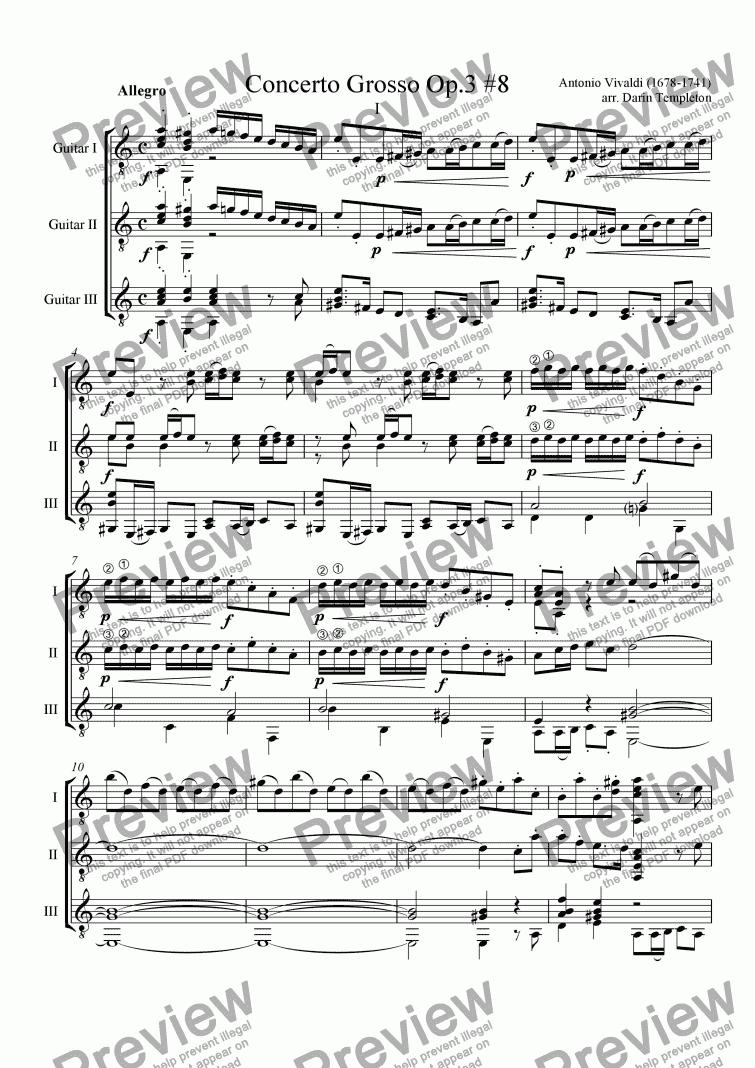 Vivaldi- Concerto Grosso Op  8#3 (Guitar Trio) for Trio of Acoustic Guitars  [notation] by Antonio Vivaldi - Sheet Music PDF file to download