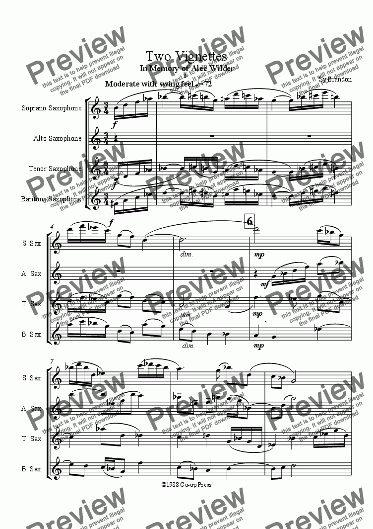 page one of Two Vignettes for Sax Quartet