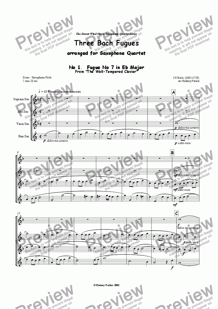 page one of Three Bach Fugues arr for Saxophone Quartet