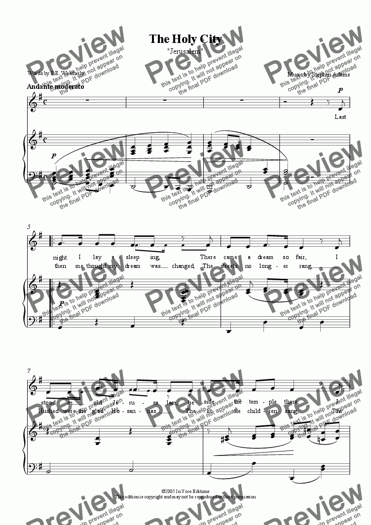 page one of The Holy City- Download Sheet Music (Low Key/Simplified Piano Vocal)