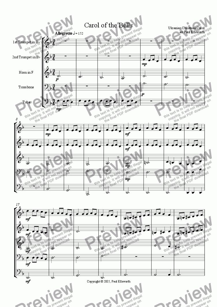 page one of Carol of the Bells