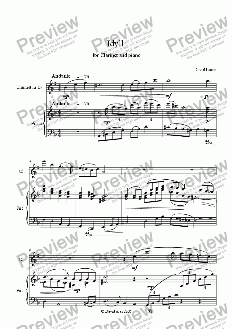 page one of Idyll for Clarinet and Piano