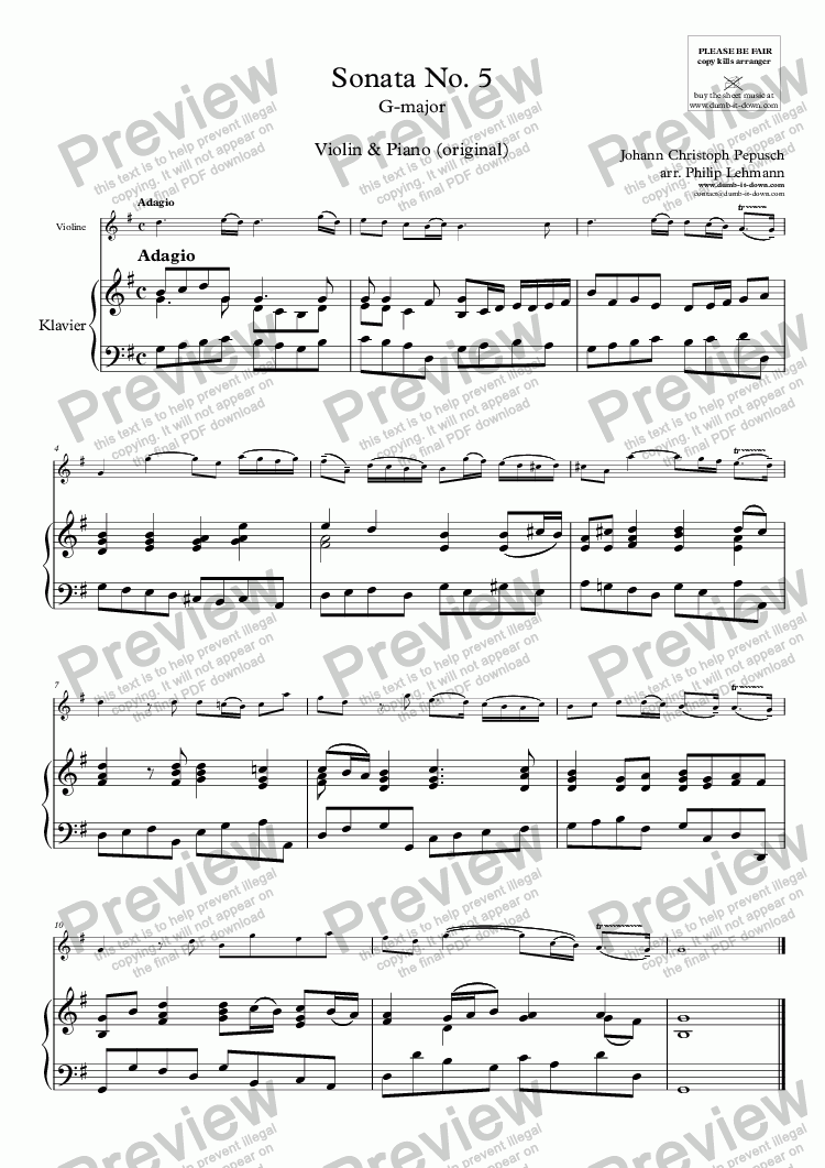 page one of Pepusch, J.C. - Sonata in G-maj. - for Violin & Piano (orig.)