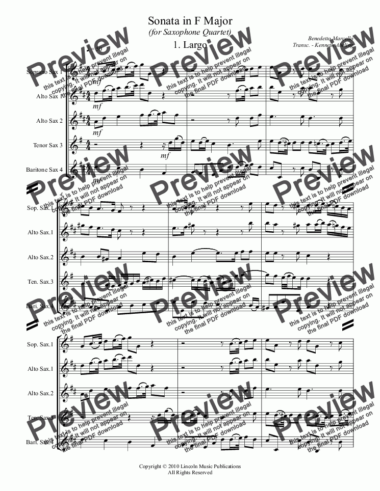 page one of Marcello - Sonata in F Major (for Saxophone Quartet SATB or AATB)