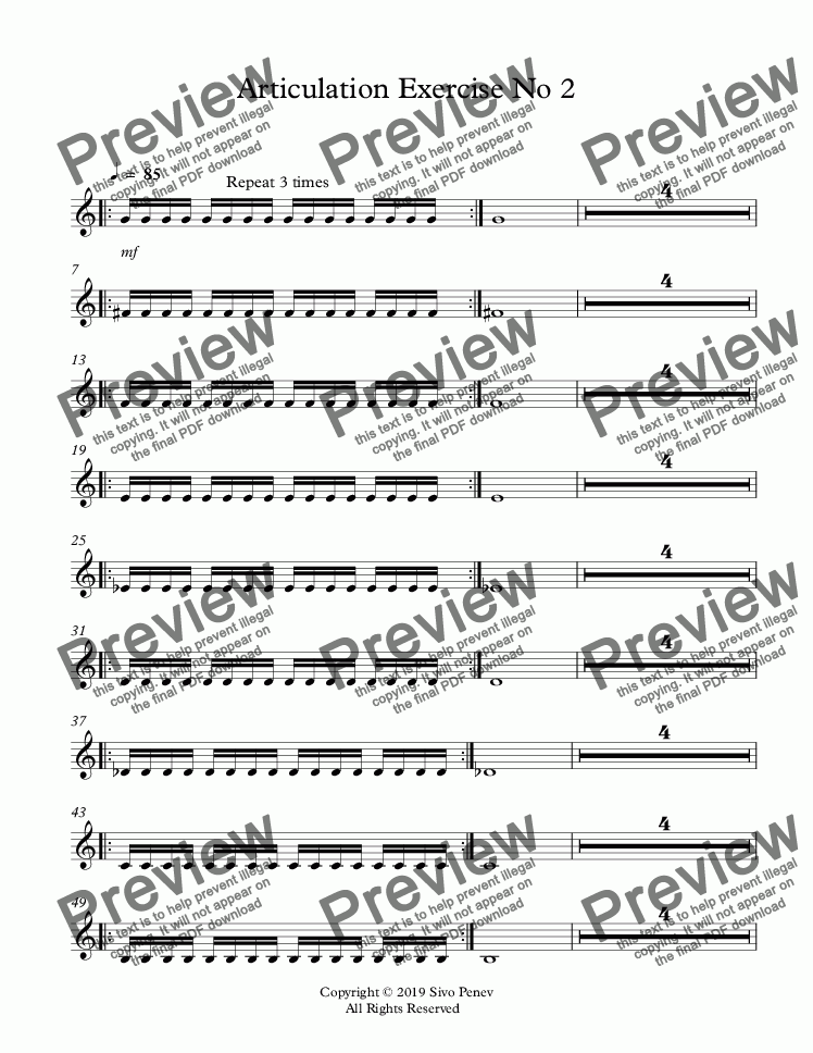page one of Articulation Exercise No 2 - Improve your single tonguing