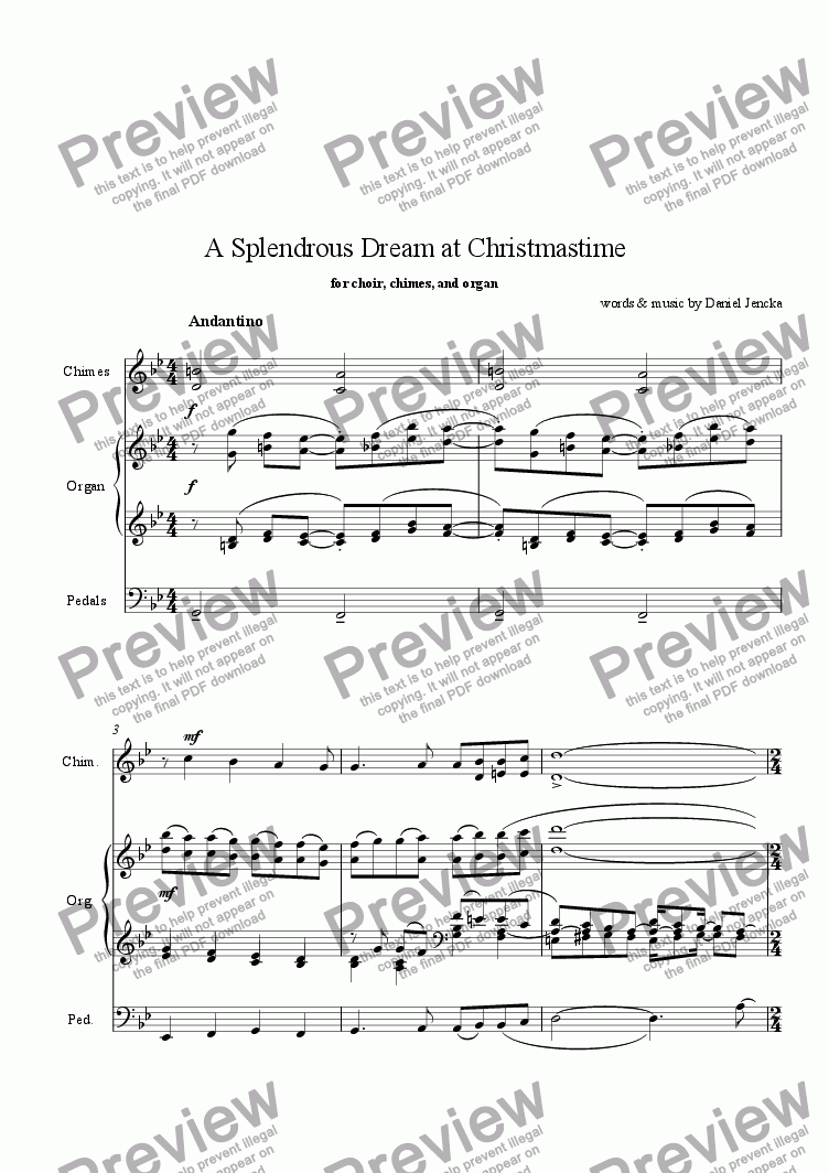 page one of A SPLENDROUS DREAM AT CHRISTMASTIME for Choir, Chimes, and Organ (with pedals)
