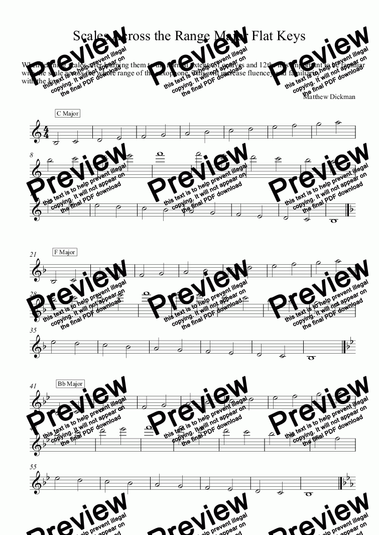 Scales Across the Range Major Flat Keys for Solo instrument (Tenor  Saxophone) by Matthew Dickman - Sheet Music PDF file to download