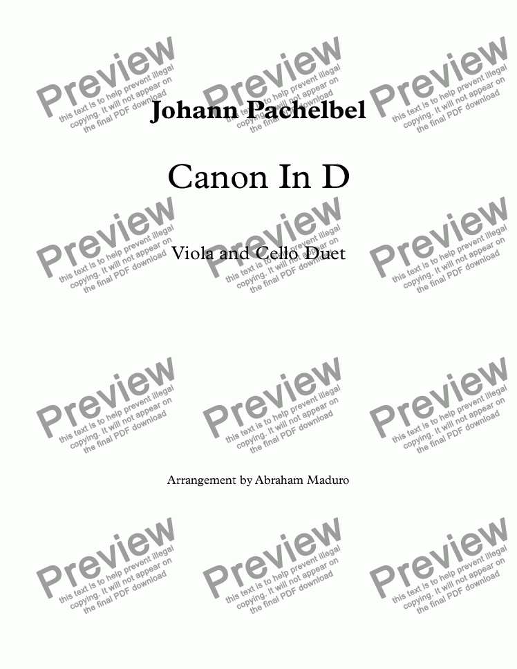 page one of Canon In D
