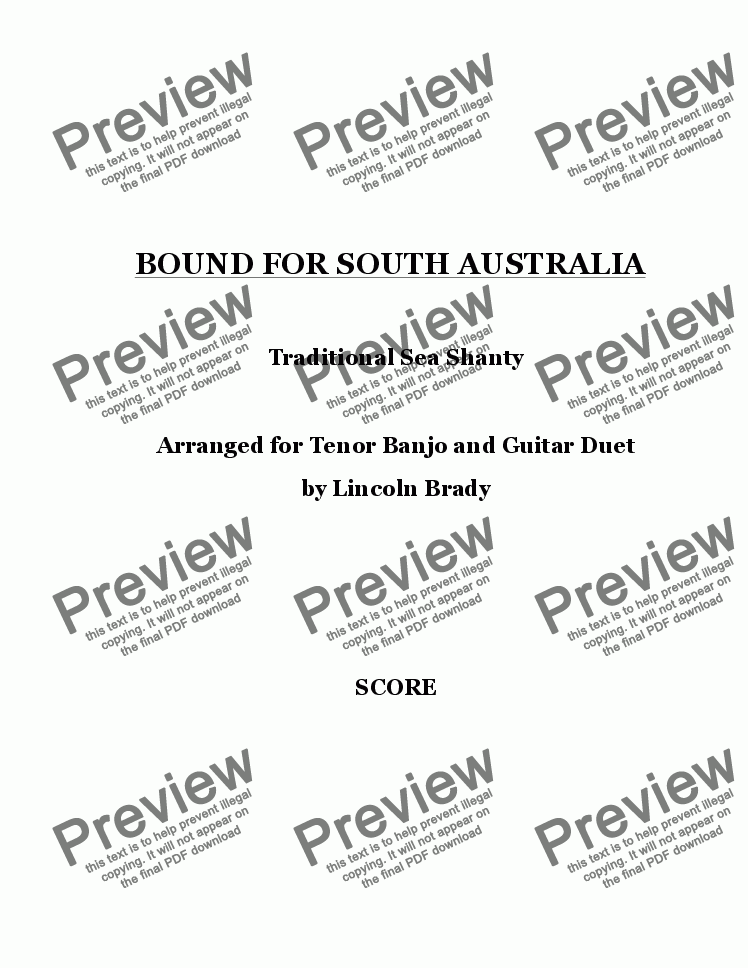 page one of BOUND FOR SOUTH AUSTRALIA - Guitar & Banjo Duet