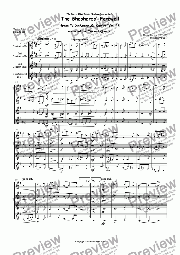 page one of The Shepherds' Farewell arr for Clarinet Quartet