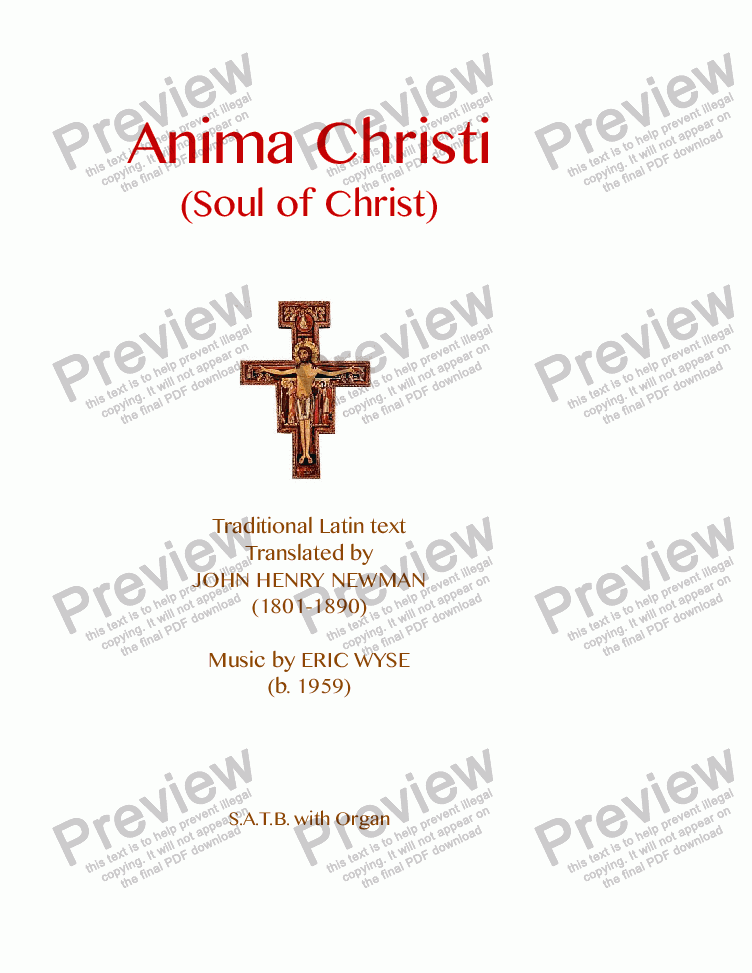 page one of Anima Christi (Soul of Christ)
