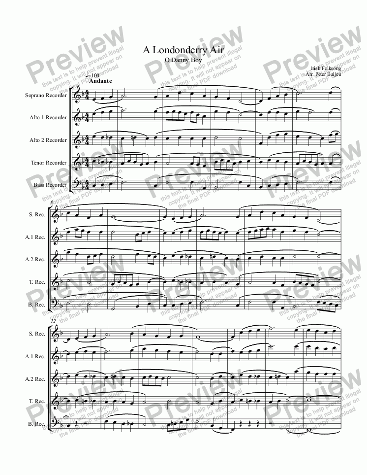 page one of A Londonderry Air (O Danny Boy) for recorders