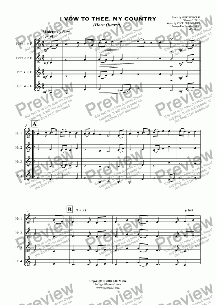 page one of I Vow To Thee, My Country (Horn Quartet)