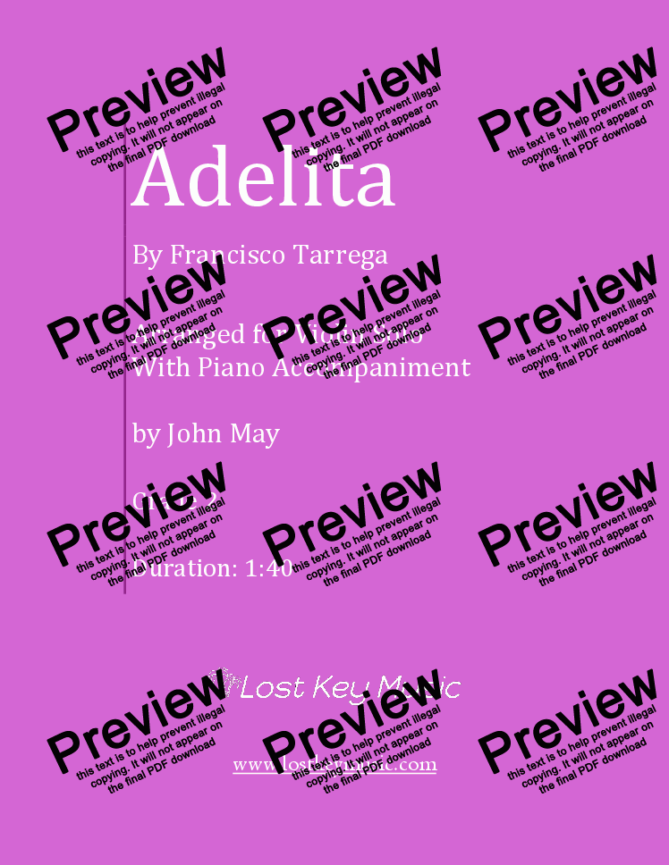 page one of Adelita-Violin Solo with Piano Accompaniment
