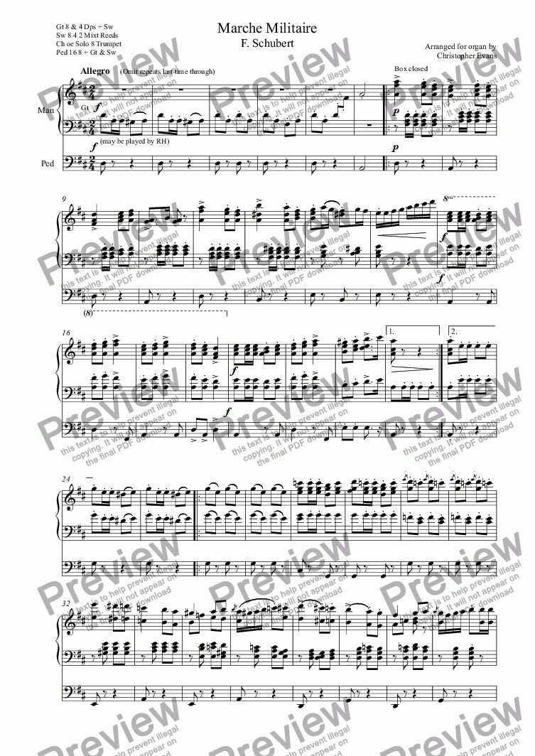 page one of Marche Militaire F. Schubert Arranged for Organ Solo