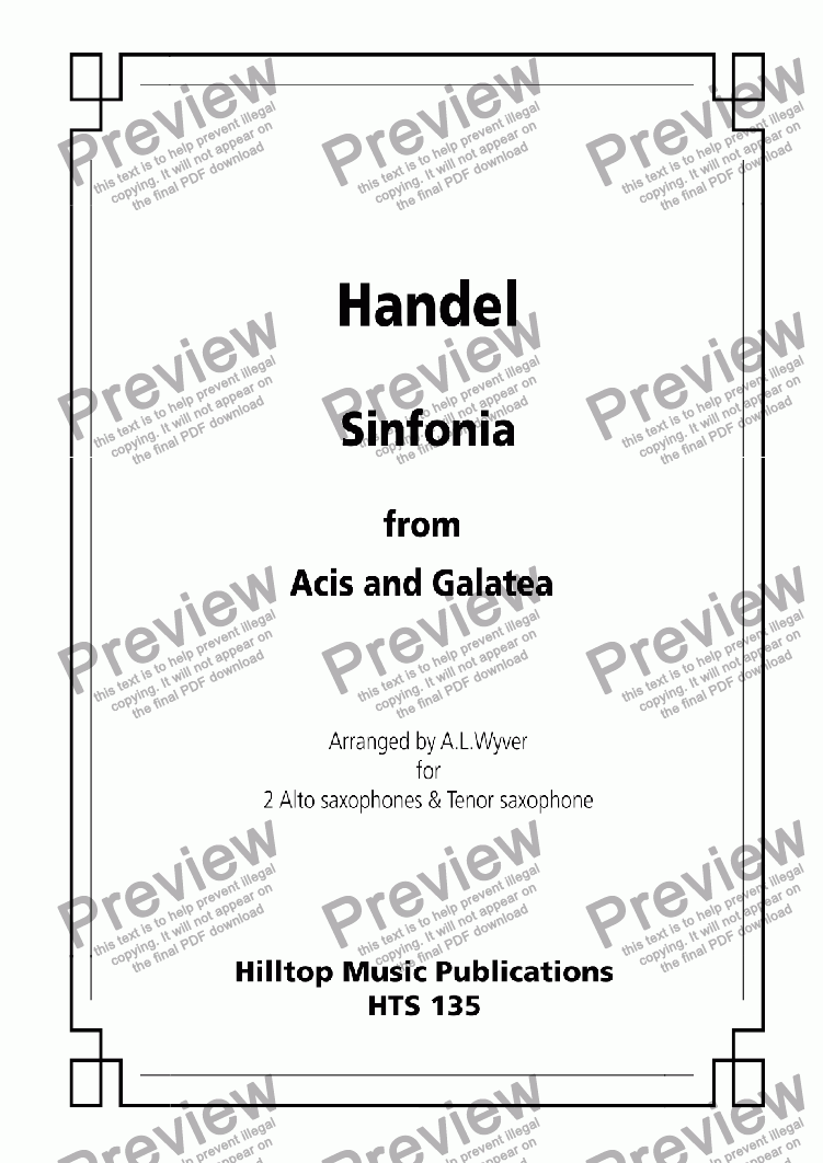 page one of Sinfonia from Acis and Galatea arr. three saxophones
