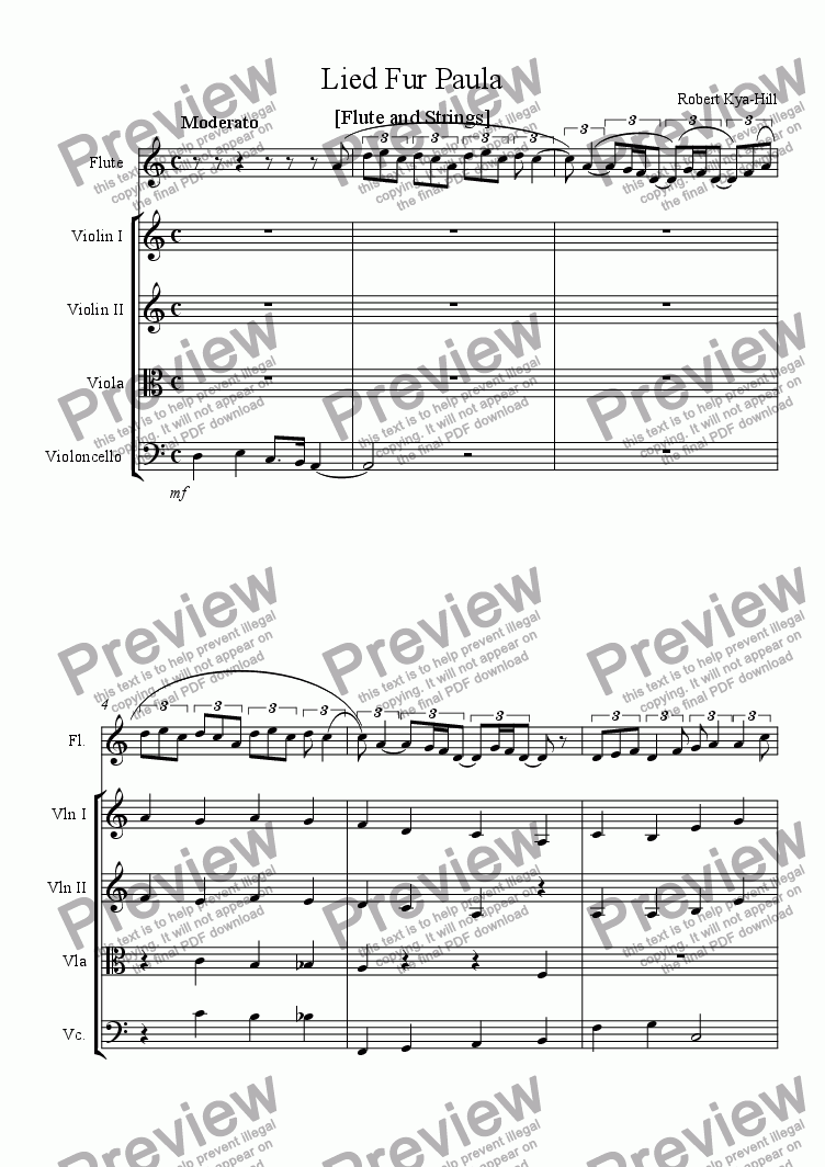 page one of Lied Fur Paula [Flute and Strings]ASALTTEXT