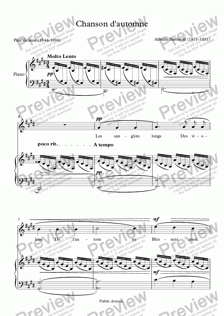 page one of Chanson d'automne (Barbirolli / Verlaine)