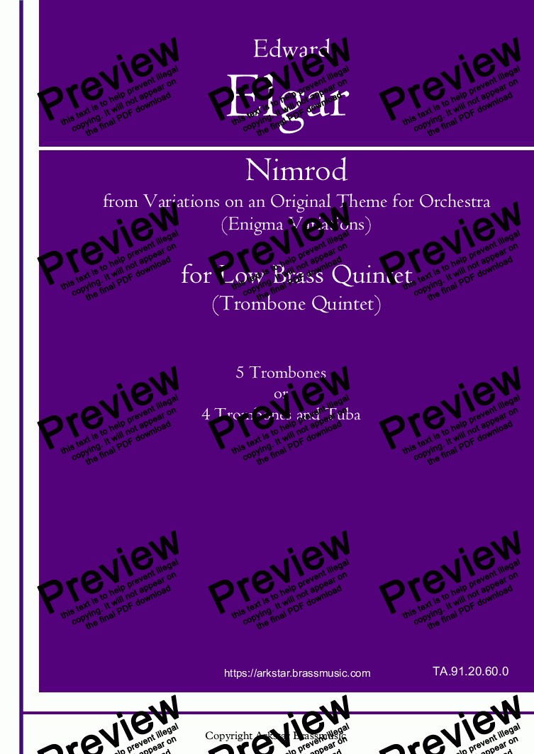 "page one of Elgar: ""Nimrod"" from Enigma Variation (Variations on an Original Theme for Orchestra) for Low Brass (Trombone) Quintet"