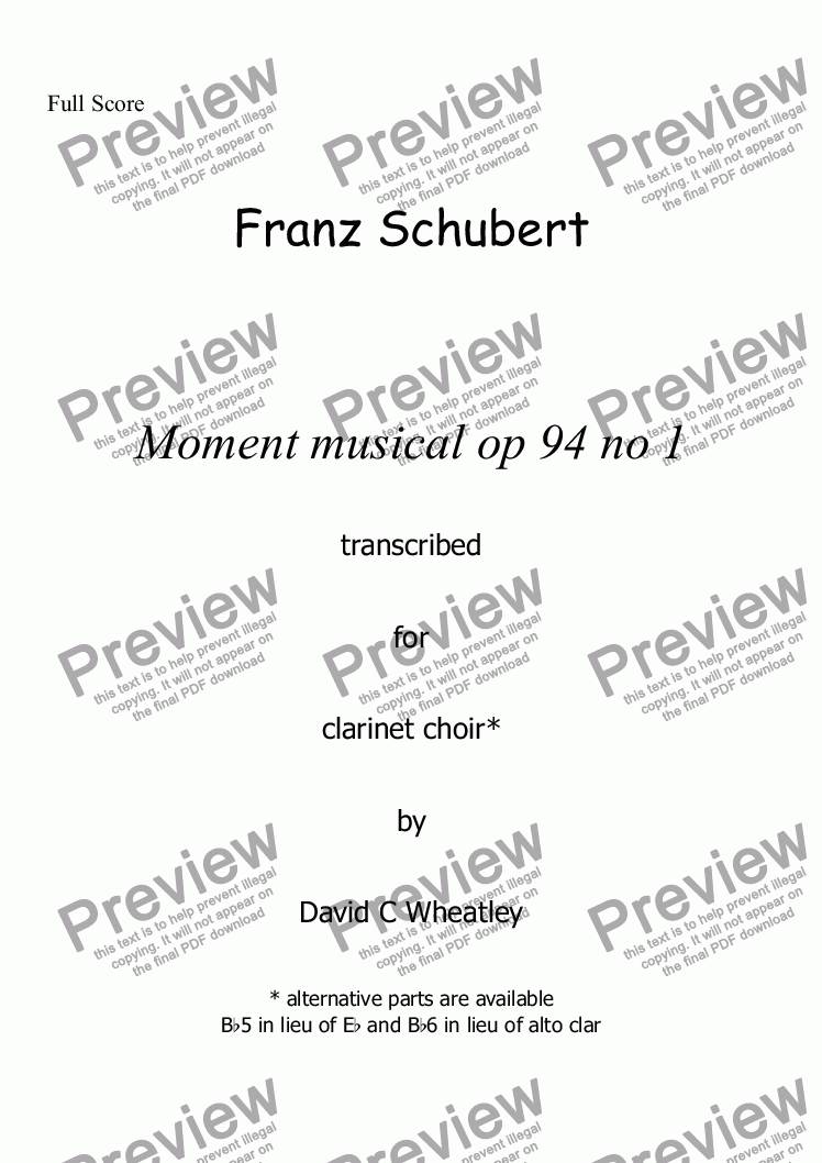 page one of Schubert - Moment Musical op 94 no 1 transcribed for clarinet choir by David Wheatley