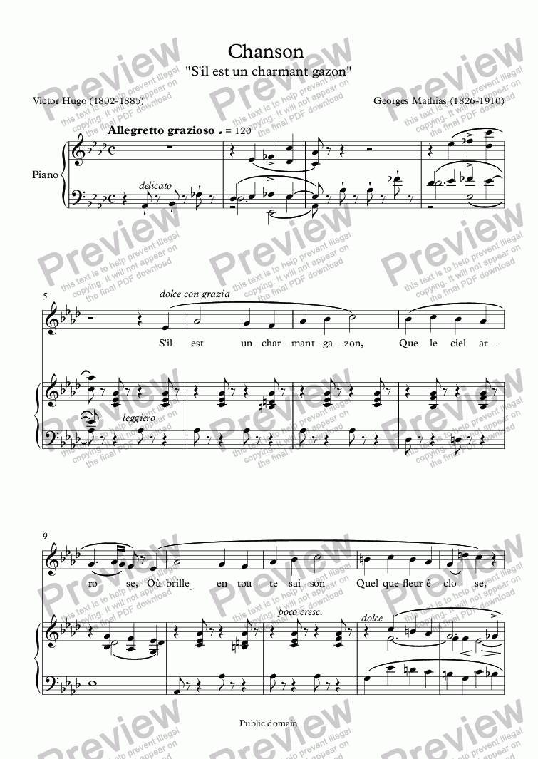 page one of Chanson (Georges Mathias / Victor Hugo)