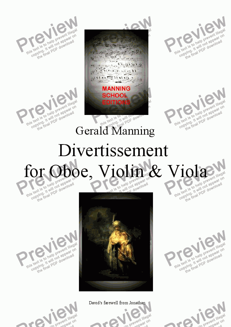 page one of MANNING, G. - Divertissement for Oboe Violin & Viola Op.1